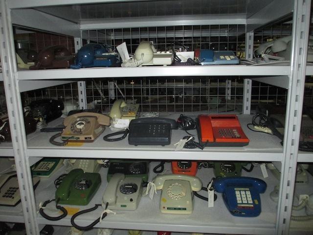 A rack of telephones.