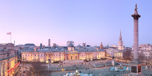 Interactive Panorama Of Trafalgar Square At Twilight