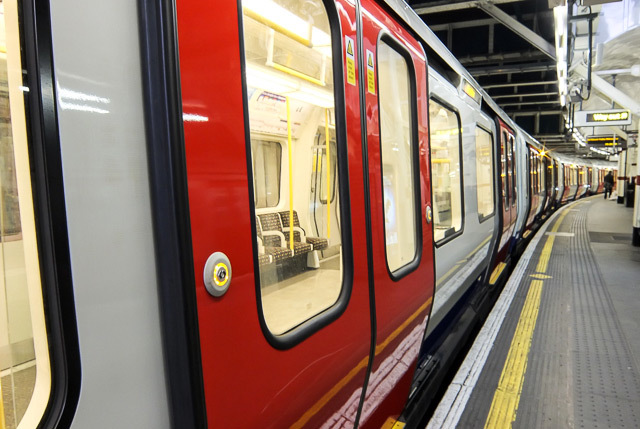 Button on the new S-stock trains, currently serving the Metropolitan line; they'll be deployed to the Hammersmith & City, Circle and District lines by 2015