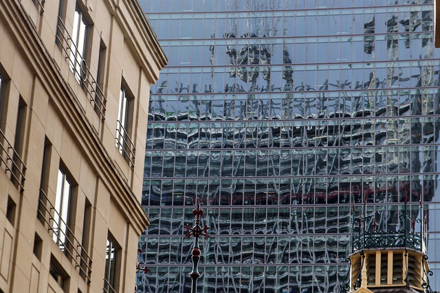 The Cheesegrater, reflected in the back of the Walkie-Talkie tower