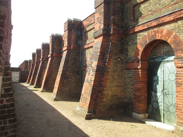 The well-buttressed magazine building. The doors are made from copper, less likely to cause sparks than iron.