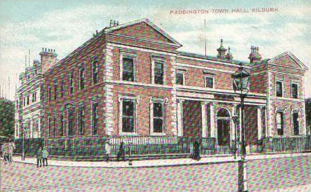 Postcard showing Paddington Town Hall. The borough was merged with Westminster in 1965, and the town hall was demolished to make way for the Westway.