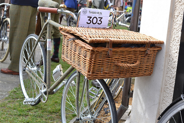 The frame of this bike has been covered in tweed. There was a prize for best decorated bike, although in keeping with professional journalism practice, we have no idea if this won.