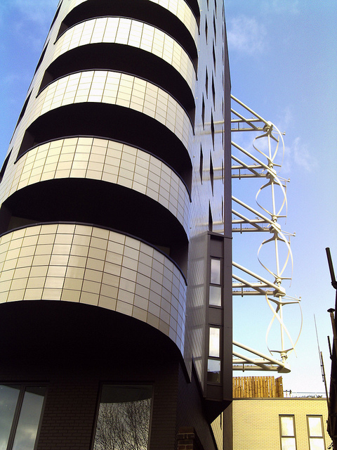 Wind turbines on the Kinetic building in Dalston / photo by Cybermyth13