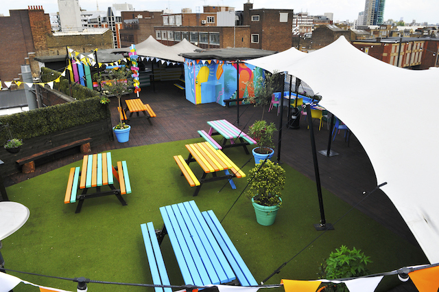 Queen of Hoxton colourful rooftop