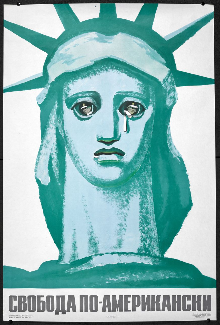 In this Soviet poster, New York's famous Statue of Liberty is parodied as a look-out tower for the American police to observe its people, mocking the idea that it is a symbol of freedom. The poster attacks and subverts American propaganda that promoted the idea of the democratic freedom of the West. B. Prorokov, Freedom American-style. Moscow, 1971.