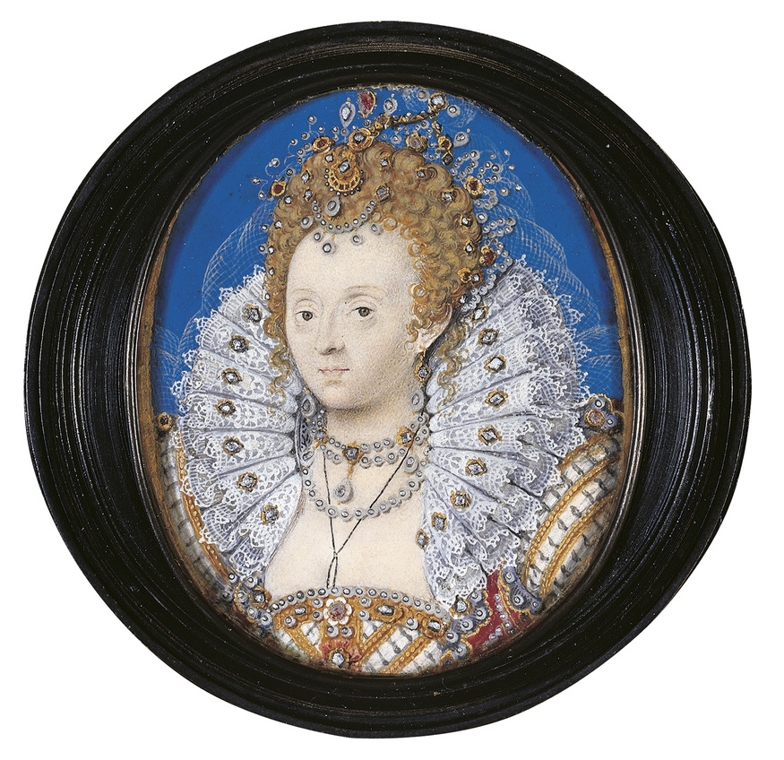 Nicholas Hilliard, Elizabeth I, c.1595-1600  Royal Collection Trust / (C) Her Majesty Queen Elizabeth II 2013.