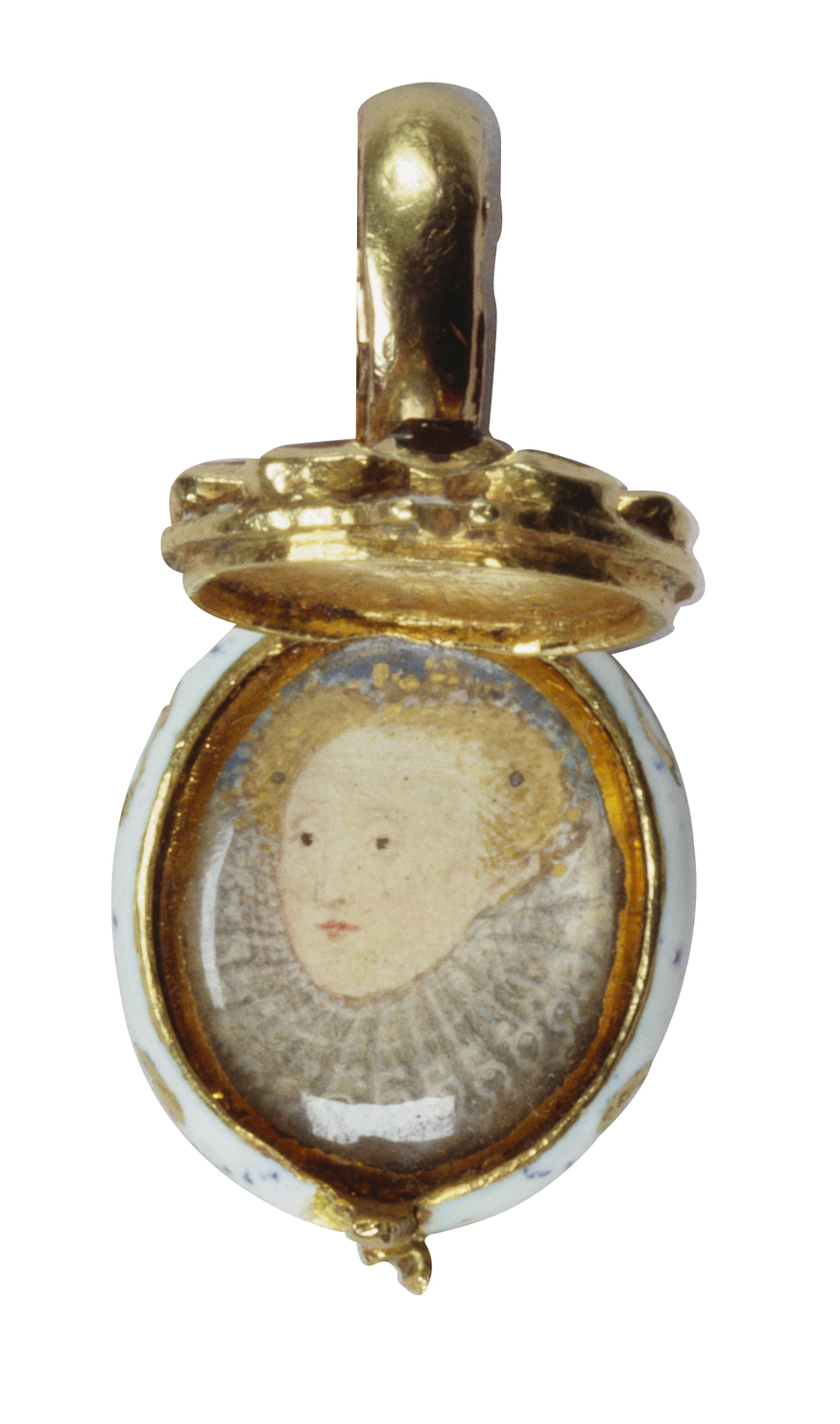 Pendant made of gold, rubies and a diamond, probably worn as an earring, with a miniature of Elizabeth I, c.1585-1600  Royal Collection Trust/ (C) 2013, Her Majesty Queen Elizabeth II