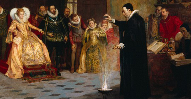 L0021973 John Dee performing an experiment before Queen Elizabeth I. Credit: Wellcome Library, London. Wellcome Images images@wellcome.ac.uk http://images.wellcome.ac.uk John Dee performing an experiment before Queen Elizabeth I. Oil painting by Henry Gillard Glindoni. Published:  -   Copyrighted work available under Creative Commons by-nc 2.0 UK, see http://images.wellcome.ac.uk/indexplus/page/Prices.html