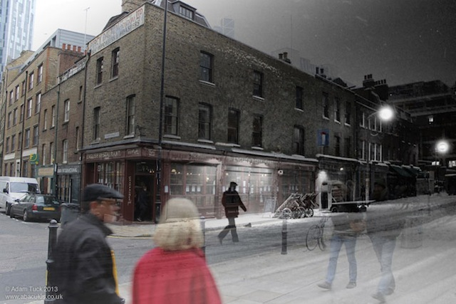 Photos of Spitalfields Fruit and Vegetable Market, taken shortly before its closure in 1991, are blended with photos taken from the same spots over twenty years later, in 2013. This is Brushfield Street, looking south-west towards Crispin Street. // WPMJHD19902013_07BrushfieldStreetLookingSouthWest
