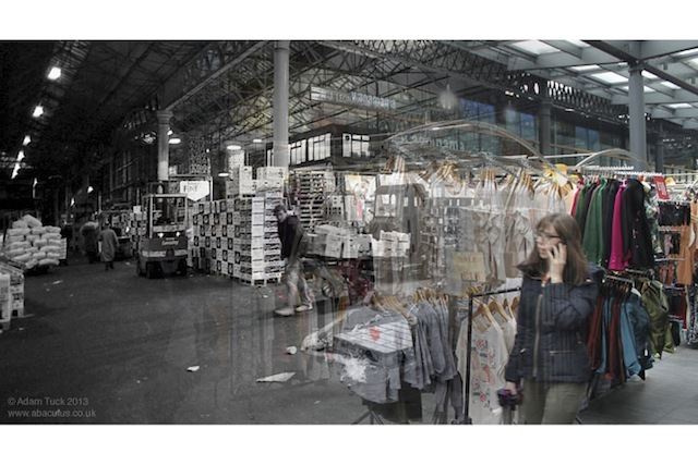 Photos of Spitalfields Fruit and Vegetable Market, taken shortly before its closure in 1991, are blended with photos taken from the same spots over twenty years later, in 2013. This is the northern side of the redeveloped market's interior. // WPMJHD19902013_10SpitalfieldsMarketInteriorNorth