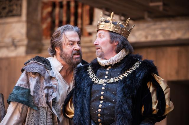 Roger Allam as Prospero and Peter Hamilton Dyer as Alonso / photo by Marc Brenner