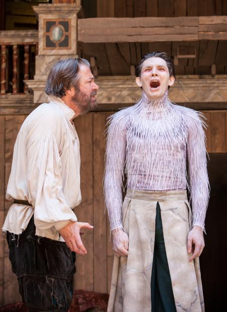 Roger Allam as Prospero and Colin Morgan as Ariel / photo by Marc Brenner
