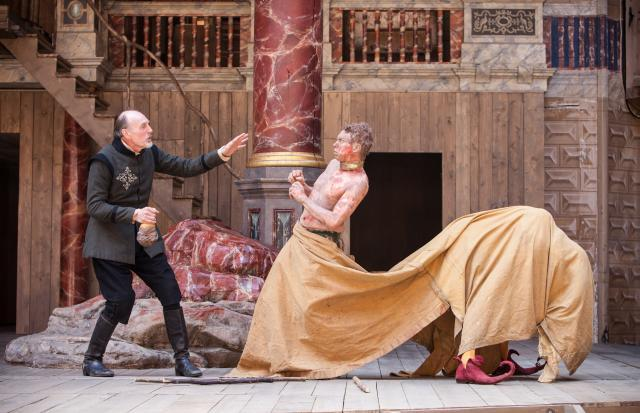 Sam Cox as Stephano and James Garnon as Caliban / photo by Marc Brenner