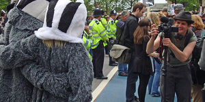 Badger Cull Protesters Outnumber BNP And Anti-Fascists
