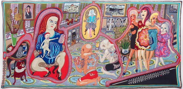 Grayson Perry RA  The Adoration of the Cage Fighters, 2012  Wool, cotton, acrylic, polyester and silk tapestry, 200 x 400 cm  Arts Council Collection, Southbank Centre London and British Council.  Gift of the artist and Victoria Miro Gallery with the support of Channel 4 Television, The Art Fund and Sfumato Foundation with additional support from AlixPartners. / ?? Grayson Perry  Photography ?? Stephen White