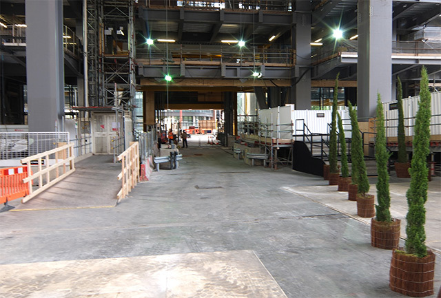 At ground level. The area beneath the building is to be a seven-storey atrium, open to the public