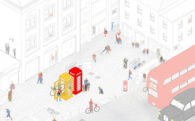 Bikebox (K6 Telephone Boxes across London). By Sam Rose and Hoi Kei Lo.  Bikebox is a charity cycle safety scheme to transform redundant K6 telephone boxes into bicycle repair kiosks.