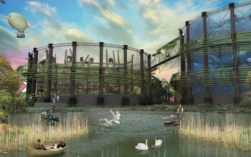 A Lost World, Bromley-by-Bow Gasworks.  By David Wakefield and Robert Nimmo.  A zoo complex in a decommissioned gas holder whose by-products, through anaerobic digestion, cyclically support the site and surroundings.