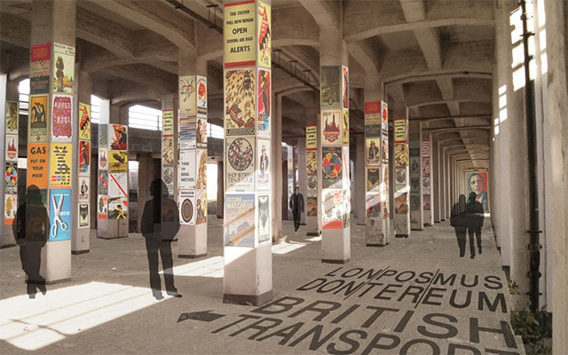 Posters of Society (Silverton Parkway). By Gary Nash and Barry Walsh.  The structural concrete columns of the flyover are used to display 1000+ posters chronicling the history of the poster from original advertisements to 21st Century political propaganda.