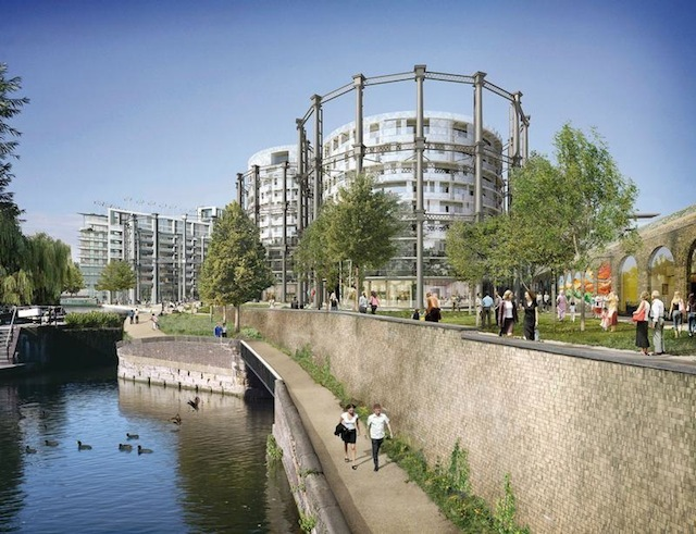 Artist's impression of the reassembled gasholders along Regent's Canal