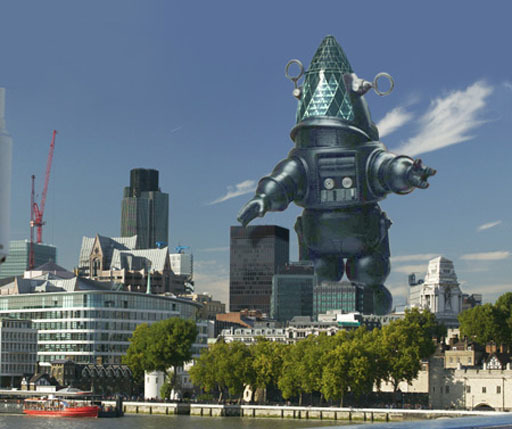 The Gherkin rendered as Robby the Robot from Forbidden Planet.