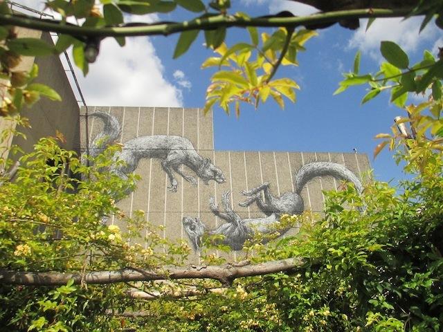 Street art by Roa, as seen from the Queen Elizabeth Hall roof garden.