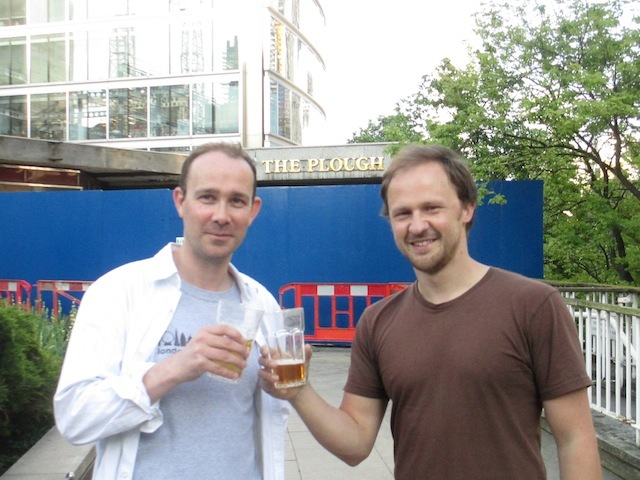 Londonistas Matt and Dean drink in front of The Plough