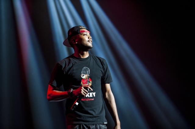 Akir rapping at Royal Festival Hall.