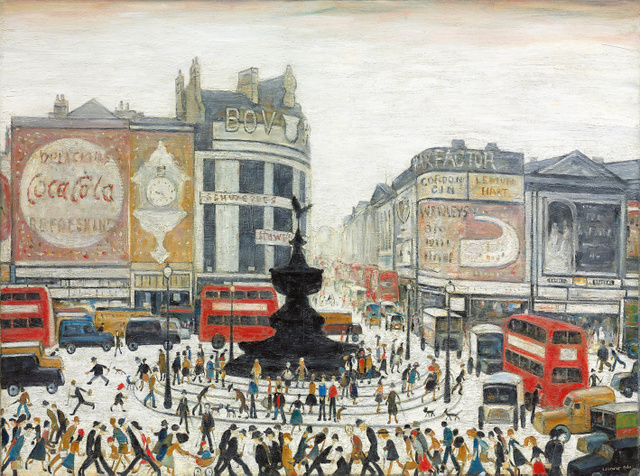 L S Lowry Piccadilly Circus, London 1960.  Private collection © The Estate of LS Lowry