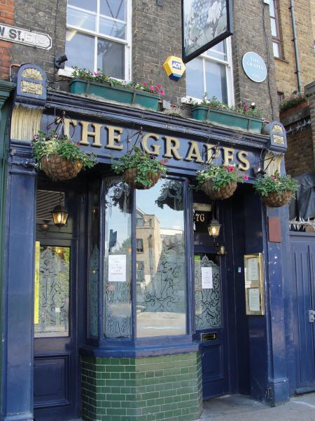 "Book 1 Ch. 6: The Grapes in Limehouse was the inspiration for ""The Six Jolly Fellowship Porters, already mentioned as a tavern of a dropiscal appearance""."