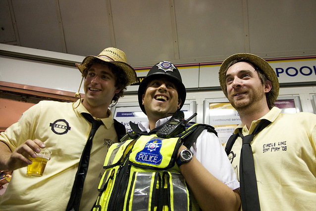 Laughing policeman and a pair of Circle line pub crawlers, by chutney bannister