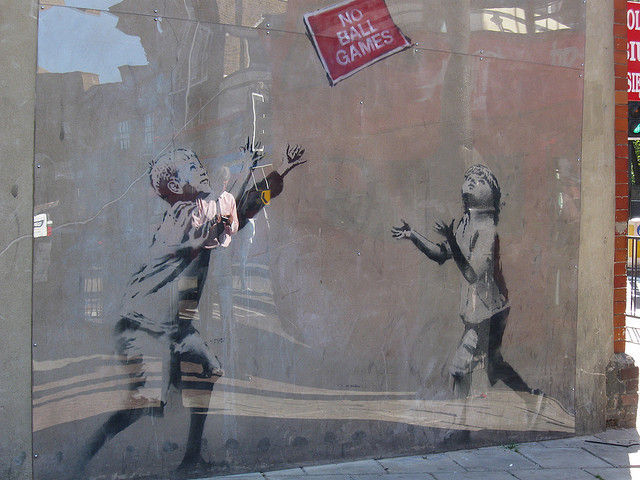 Banksy 39 s no ball games mural removed from tottenham for Banksy mural sold