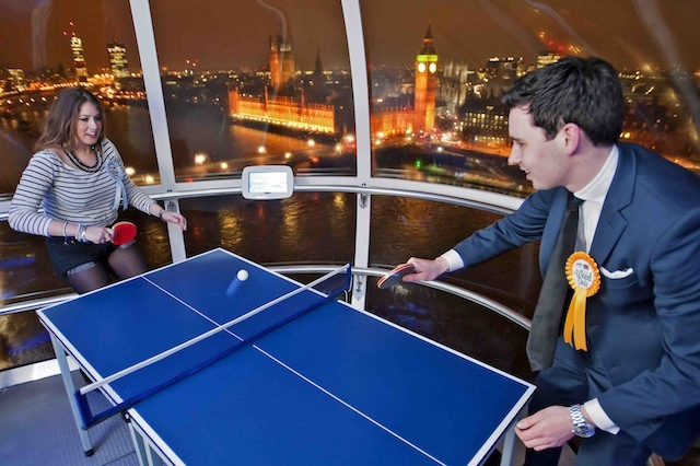Ping Pong merrily up high: Dating site DoingSomething.co.uk transformed the entire EDF Energy London Eye into 32 different dating 'experiences' last night for 500 of the UK's most adventurous singletons, including a ping pong capsule at 435ft.....For more information, please contact doingsomething @frankpr.it..