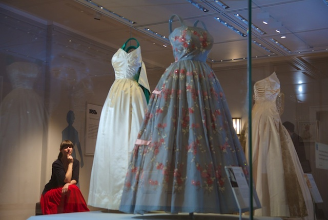 A case of dresses worn by The Queen. The striking green and white dress was worn in Pakistan: again the colours used by the designers are a nod to that nation's flag's colours