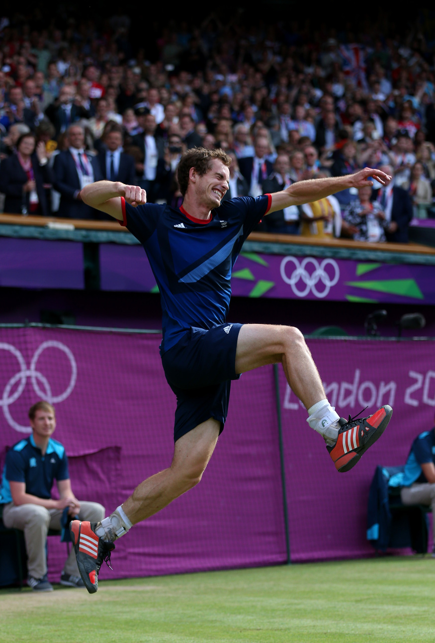 Andy Murray wins gold at the London 2012 Olympics.  Photo by Getty
