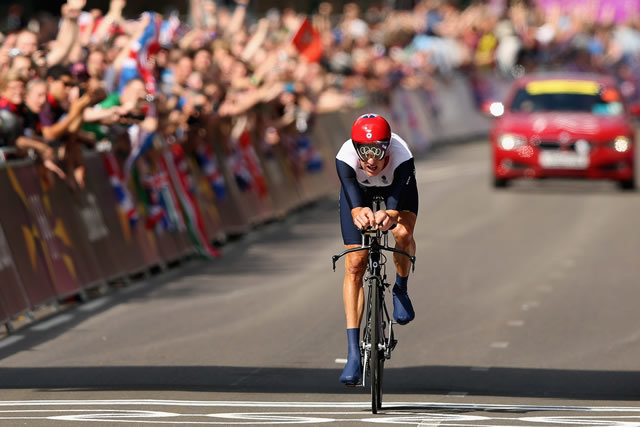 Wiggins enters the Guinness World Records, becoming the first cyclist to win an Olympic gold medal and the Tour de France in the same year. Photo by Getty