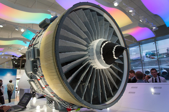 Jet engine model made from LEGO