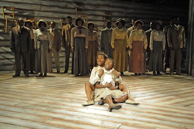 Abiona Omonua and Cynthia Erivo as sisters Nellie and Celie © Nobby Clark