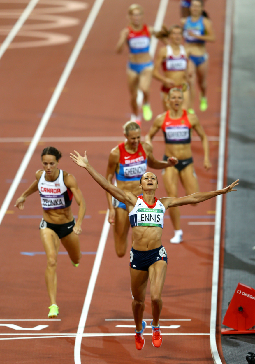 Jessica Ennis wins at the London 2012 Olympics.  Photo by Getty