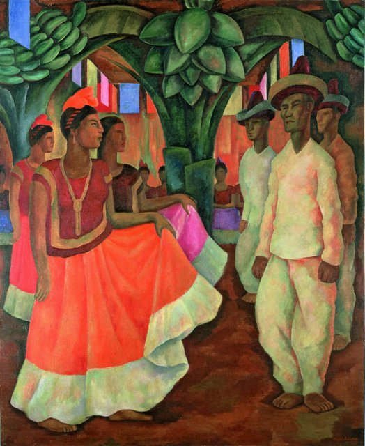 Diego Rivera Dance in Tehuantepec (Baile in Tehuantepec), 1928 Collection of Clarissa and Edgar Bronfman Jr. Photo Collection of Clarissa and Edgar Brontman Jr., courtesy of Sotheby's,  New York / © 2013  Banco de México Diego Rivera Frida Kahlo Museums  Trust, Mexico, D.F. / DACS