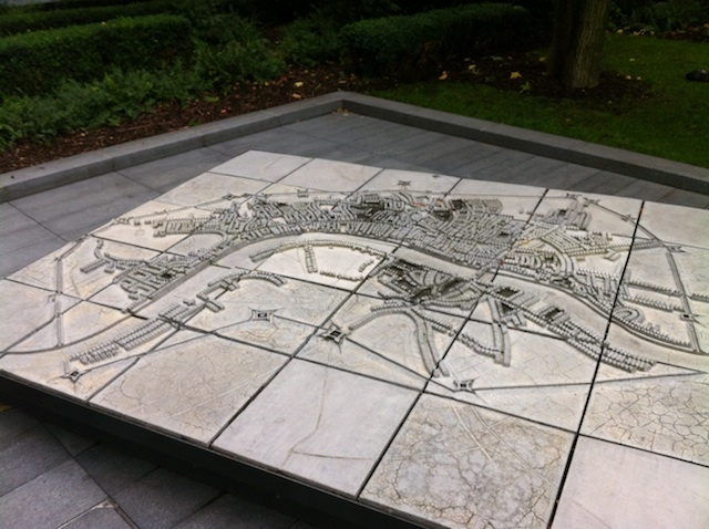LINES OF COMMUNICATION: During the English Civil Wars, 11 miles of fortifications were erected around London. Very little physical evidence remains for these earthworks, and their exact alignments are uncertain. However, you can get a decent impression of their extent by viewing this concrete map, known as Lines of Communication, in Bishop's Square, Spitalfields, created by Craft + Pegg.