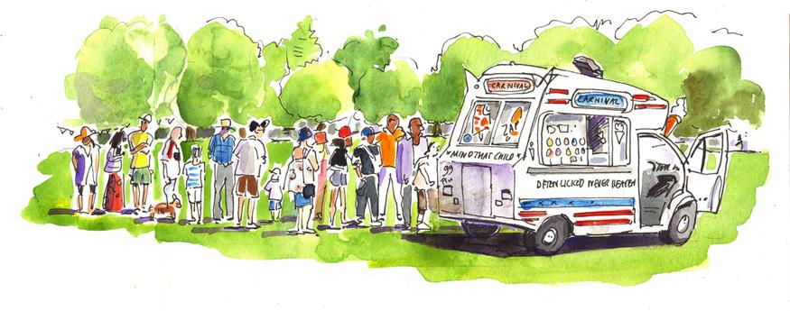 Ice Cream Van, Mayow Park by Lis Watkins