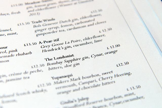 The bar menu