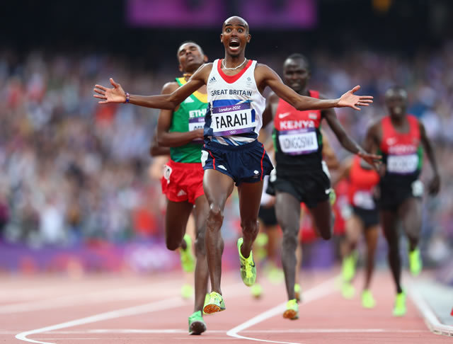 Mo Farah powers to victory in the Olympic Stadium. Photo by Getty