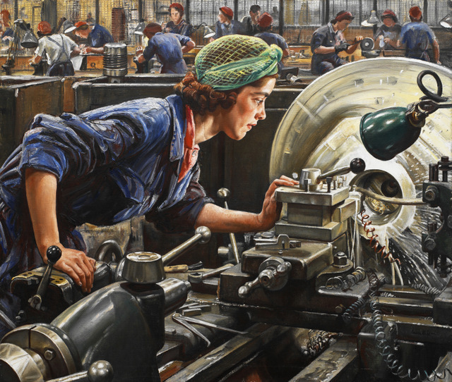 Ruby Loftus Screwing a Breech Ring, by Dame Laura Knight, 1943. Copyright: Imperial War Museum, London