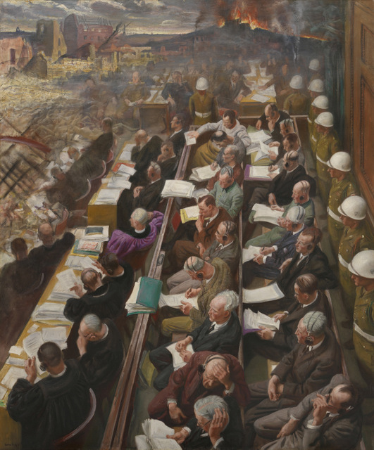 The Nuremberg Trial, by Dame Laura Knight, 1946. Copyright: Imperial War Museum, London