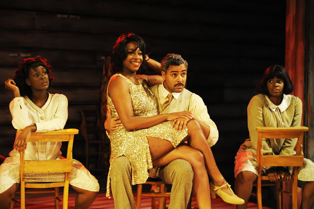 Jennifer Saayeng, Nicola Hughes, Christopher Colquhoun and Ibinabo Jack in The Color Purple. © Nobby Clark