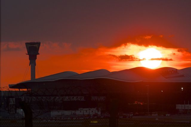 Heathrow Terminal 2 sunset