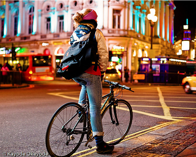 Piccadilly Circus and Cyclist by kayodeok